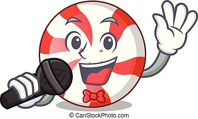 Singing peppermint candy mascot cartoon