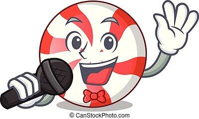 Singing peppermint candy mascot cartoon vector illustration