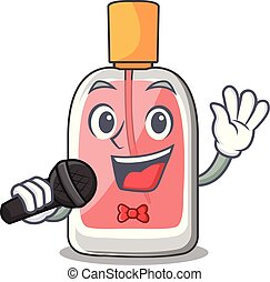 Singing perfume bottle on the character table vector...
