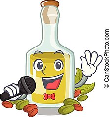 Singing Pistachio oil in a character bottle