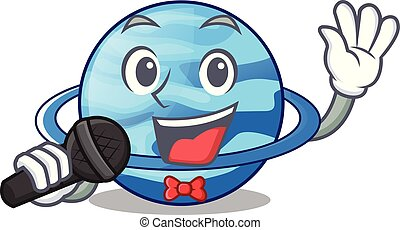 Singing planet uranus in the cartoon form vector...