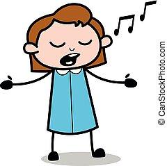 Singing - Retro Office Girl Employee Cartoon Vector Illustration?
