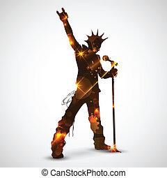Singing Rock Star - illustration of rock star singing for...