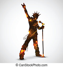 Singing Rock Star - illustration of rock star singing for...