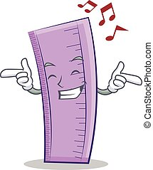 Singing ruler character cartoon style