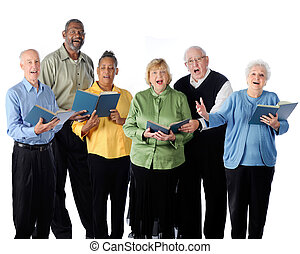 Six happily singing senior adults. On a white background.