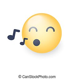 Singing smiley face. Emoji whistles a song. Cartoon vector emoticon with notes. Happy yellow vector cartoon character with eyes closed