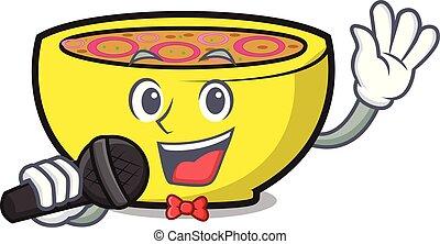 Singing soup union mascot cartoon