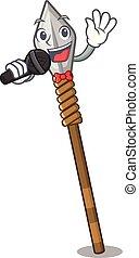 Singing spear next to door of mascot