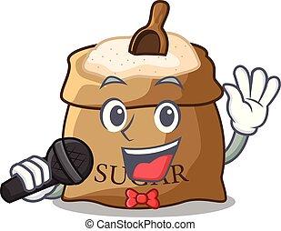Singing sugar that burlap sack on mascot