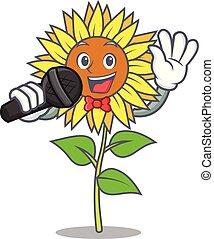 Singing sunflower mascot cartoon style vector illustration