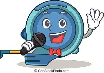 Singing tape measure character cartoon