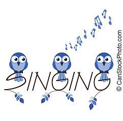 Singing twig text isolated on white background