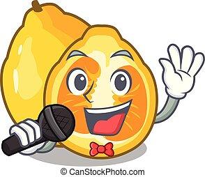 Singing ugli fruit in the cartoon fridge vector illustration