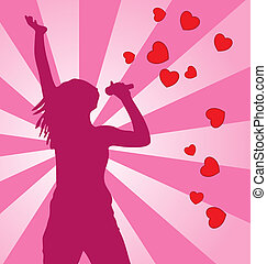 Singing vector female silhouette on colored background.