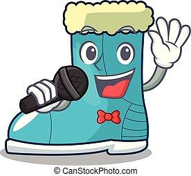 Singing winter boot on the character rak vector illustration