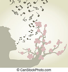 Singing woman - From a mouth of the girl notes take off. A...