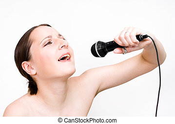 Singing woman with microphone