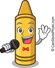 Singing yellow crayon in the cartoon wallet