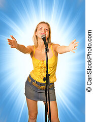 Singing young girl on abstract blue background