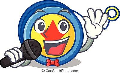 Singing yoyo mascot cartoon style vector illustration