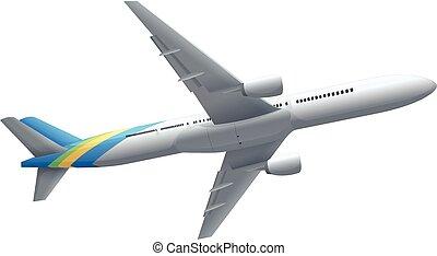 Single airplane on white background