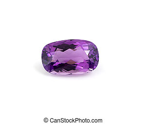 Single amethyst on white background.