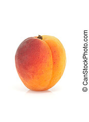Single apricot - Fresh and ripe apricot isolated on a white...