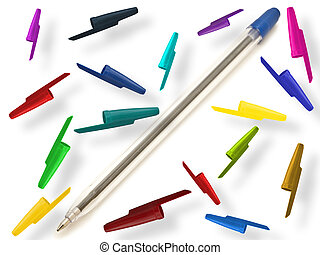 pen with multicolored caps - single ball pen with ...