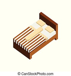 Single Bed 3D Isometric Furniture Illustration