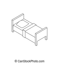 Single bed icon, isometric 3d style