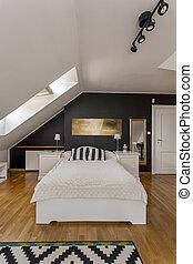 Single bed in elegant bedroom