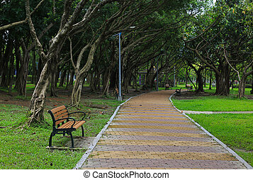 Single bench in a park