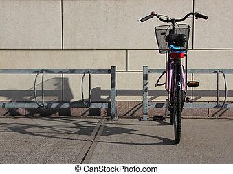 Single Bicycle in Bike Steel Mounted Rack