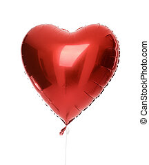Single big red heart balloon object for birthday isolated -...