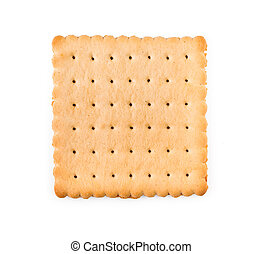 Single biscuit isolated on a white background.