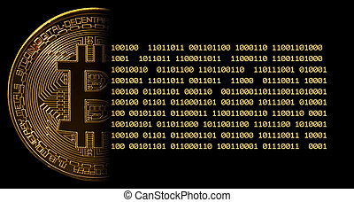Single bitcoin macro image against black with bits - Single ...
