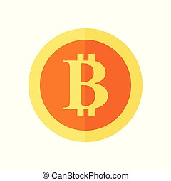 Single Bitcoin Simple Symbol Vector Illustration Graphic