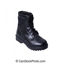 Single black boot isolated over white background