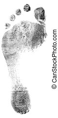 Single black footrprint - simple monochrome image