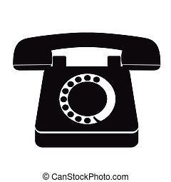 single black old vintage telephone icon - isolated single...
