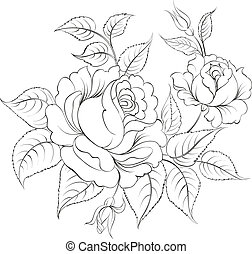 Single black rose ink painted. Vector illustration.
