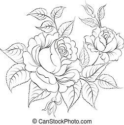 Single black rose ink painted. Vector illustration.