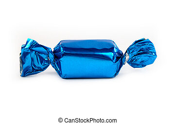 Single blue candy wrapped isolated on white