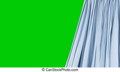 Single Blue Curtain Waving in Wind Opening and Closing. Beautiful 3d Animation Abstract Realistic Curtain Revealing Background Green Screen. Useful for Transitions. Alpha Mask 4k UHD