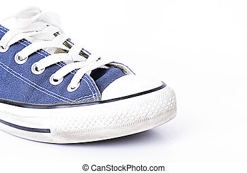 Single blue jeans shoes on white backgrounds