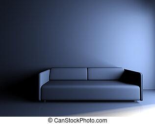 Single blue sofa lit in a dark room