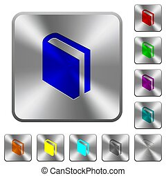 Single book rounded square steel buttons
