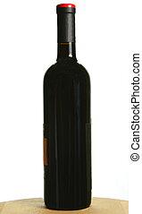 Single bottle of dark red wine