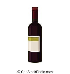 Single Bottle of Red Wine With Blank Label Vector Illustration